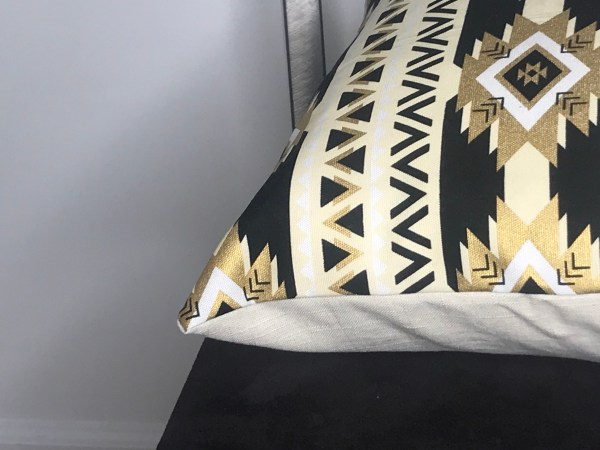 African print pillow - black and gold