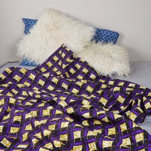 African print throw blanket - purple brown
