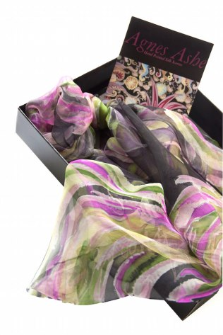 Agnes-Ashe-Valentines-hand-painted-silk-scarf-Valeria-black-pink-box