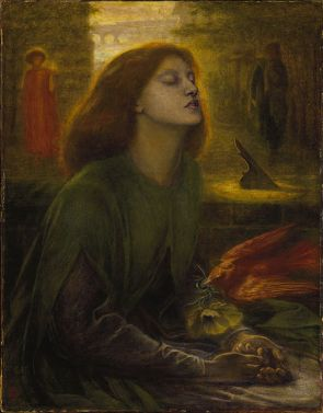 Lizzie Siddal as Beatrice. 'Beata Beatrix' by Dante Gabriel Rossetti. Created 1864-1870. Oil on canvas. 864 x 660mm.
