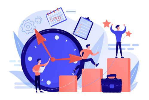 Businessman sets goals and runs up on graph columns for success on time. Self-management, self regulation learning, self-organization course concept. Pink coral blue vector isolated illustration