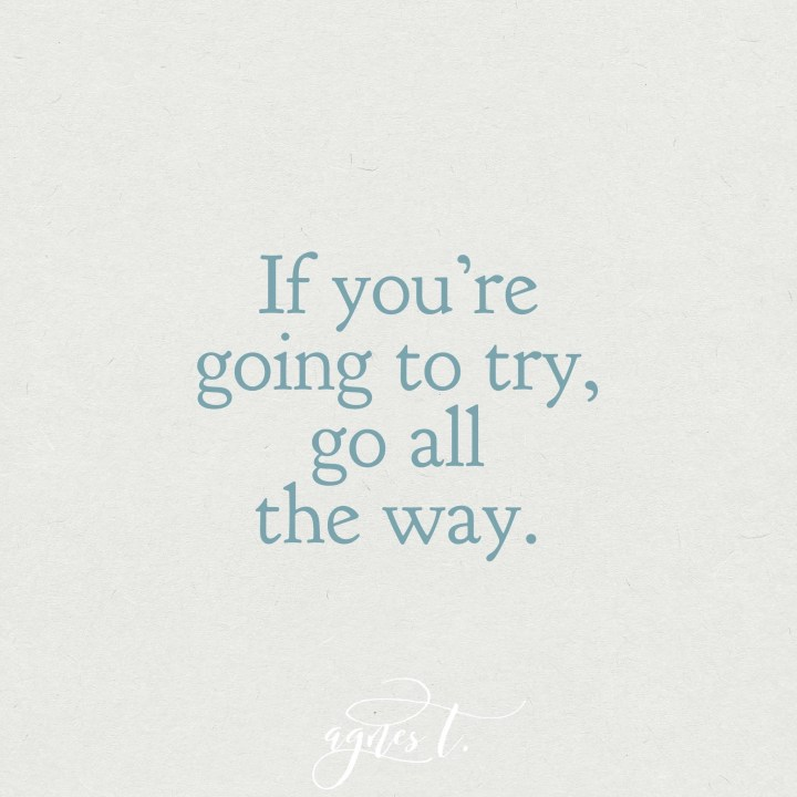 If You're Going To Try, Go All the Way