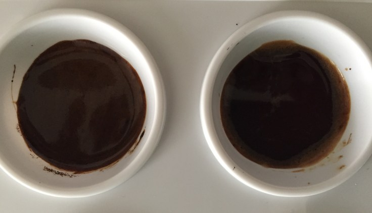 The left is darker and the right is thinner and lighter.