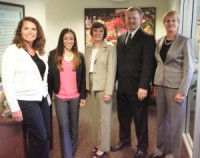 CDFA Secretary Karen Ross (center) with the Department's Lean 6 Sigma Training graduates. From left, Animal Health and Food Safety Services director Dr. Annette Jones, division analyst Kimberly McCarthy, Division of Measurement Standards environmental scientist Kevin Schnepp, and Division of Measurement Standards director Kristin Macey.