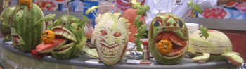 Carved Watermelons on display as part of the NWPB's exhibit at Fresh Summit 2014