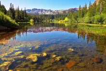 Magnificent lake in vicinity of small city Bishop in California nutrient pollution
