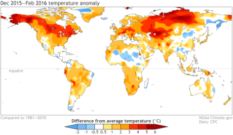 December 2015 – February 2016 surface temperature patterns, shown as the difference from the long-term mean. Climate.gov figure from CPC data. Click for large image