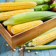 Corn box on wooden table