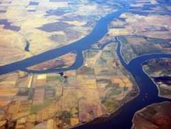 Sacramento–San Joaquin River Delta in California, USA, looking northwest. The Sacramento River is above, the San Joaquin River below. The main island between is Sherman Island. At its upper tip on the left is Brannan Island with Brannan Island State Recreation Area occupying the small peninsula; at its upper tip on the right is Twitchell Island. Bradford Island is on the center right and Jersey Island in the right lower corner. The upper left is Solano County with the city of Rio Vista on the riverbank.