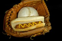 Hot Dog in a baseball glove