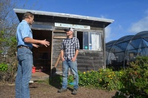 Rich Casale, NRCS district conservationist, provides assistance to Chris Omer, farm manager, Homeless Garden Project, Santa Cruz, CA. NRCS photo.