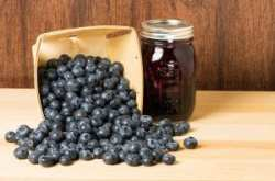 Blueberries and jam or jelly