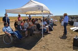 Jesse Sanchez speaking on the farm