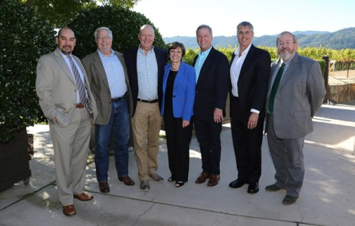CDFA Secretary Karen Ross (center) with current and former County Agricultural Commissioners whose work was vital to the eradication effort. From left: Humberto Izquierdo (Alameda), Dave Whitmer (Napa, retired), Eric Lauritzen (Monterey), Greg Clark (Napa), Tony Linegar (Sonoma), and Jim Allan (Solano).