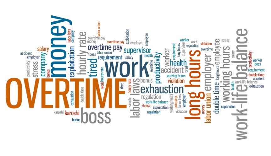 Overtime - employment issues and concepts word cloud