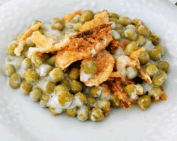 Creamy Baked Peas with Three Cheese Au Gratin