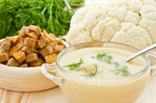 Soup Cream of cauliflower puree and dill in a bowl