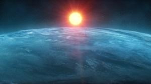 Картинка: солнце над планетой