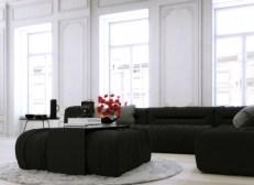 Parisian-Apartment-monochrome-living-with-white-walls-and-black-corner-lounge2-600x437