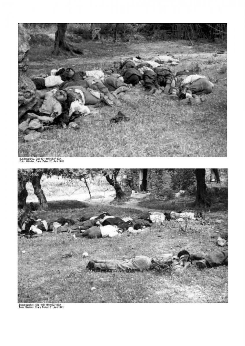 Αλεξιπτωτιστής των ναζί δίνει τη χαριστική βολή στους 23 εκτελεσμένους άμαχους στο Κοντομαρί Χανίων (02 Ιούνιου 1941∙ Φωτογραφία του Franz Peter Weixler)