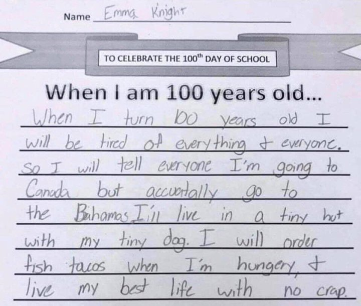 When I Am 100 Years Old…