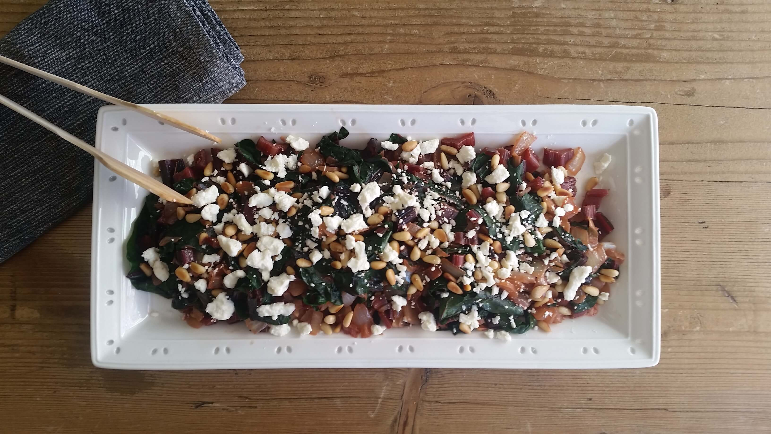 Chard Recipe with Pine Nuts and Feta Cheese