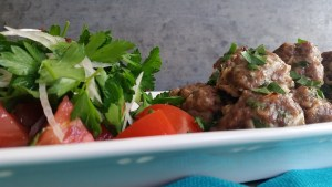 Mom's Meatballs with Parsley and Onion Salad