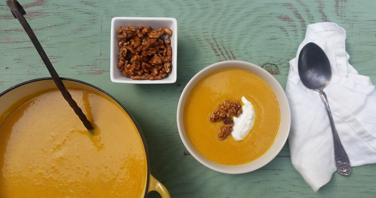 Carrot-Curry-Apple Soup with Baked Maple Walnuts