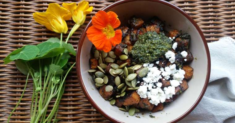 Sweet Potato Salad with Nasturtium Pesto Recipe