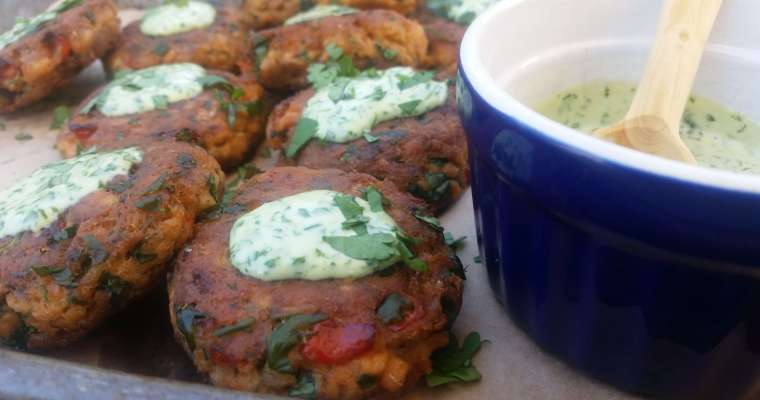 Salmon Patties with Cilantro Stem Aioli