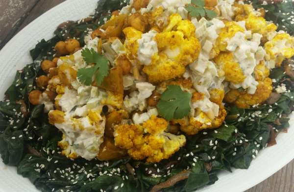 roasted spiced cauliflower chard stem tahini sauce recipe, vegetarian thanksgiving recipes