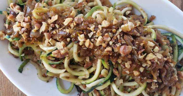 Zucchini Noodle Recipe with Caramelized Onions and Crushed Roasted Walnuts