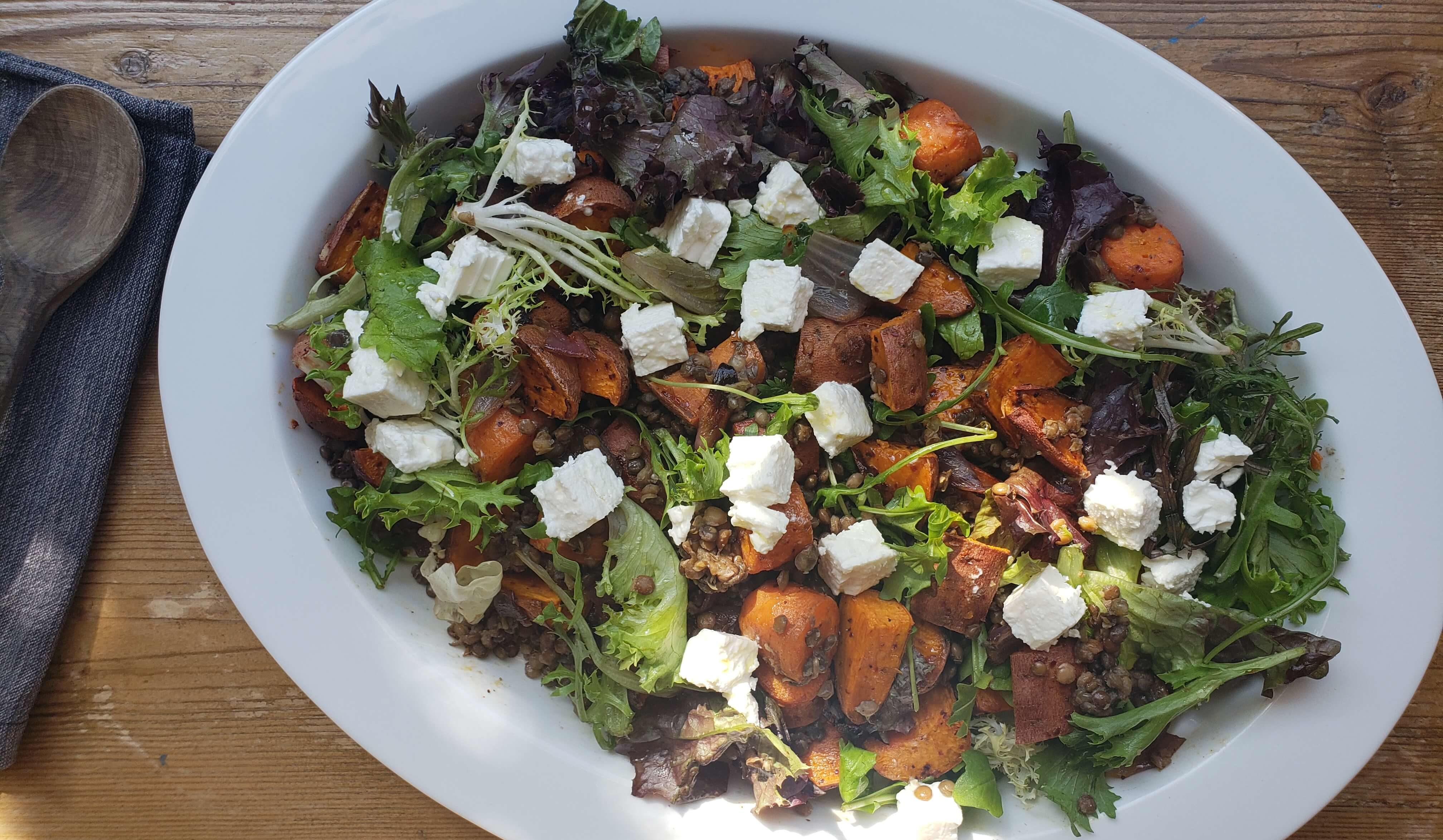 Vegetarian Thanksgiving Recipe | Sweet Potato Salad with Lentils and Feta Cheese