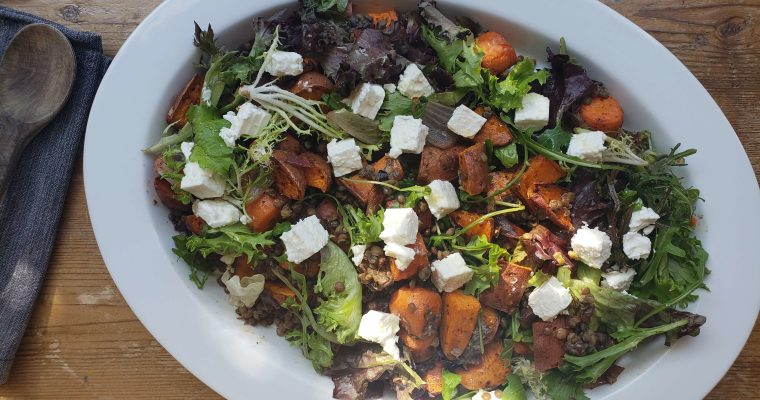 Sweet Potato Salad with Lentils and Feta Cheese