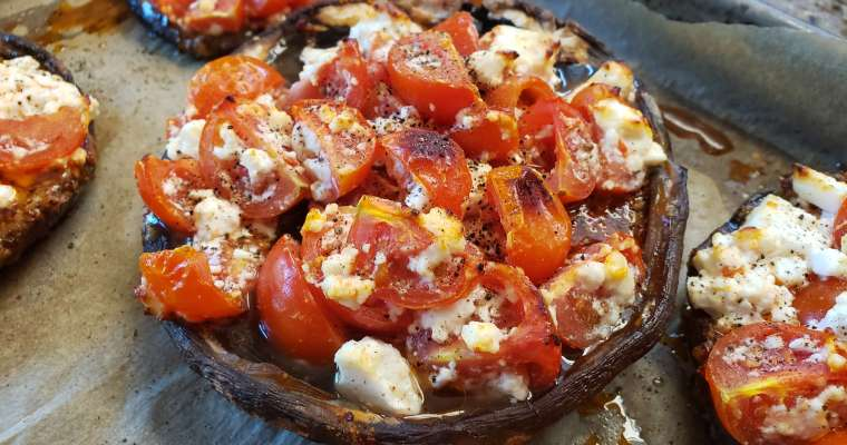 Marinated Portobello Mushrooms with Tomatoes and Feta Cheese