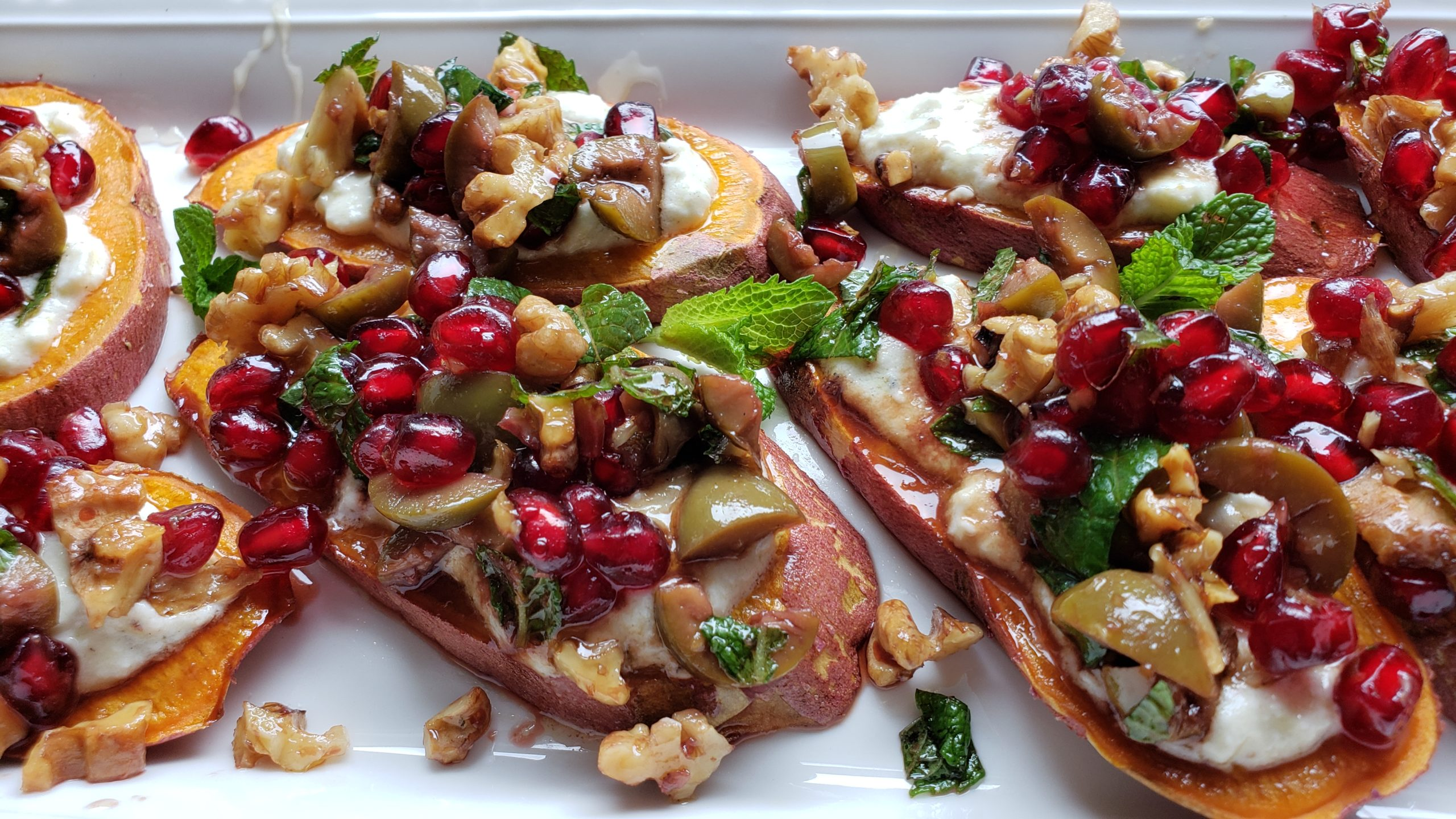 Sweet Potato Appetizer with Feta and Pomegranate Olive Salsa