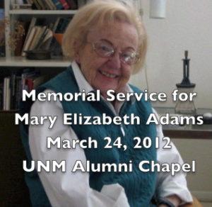 Mary Adams memorial service