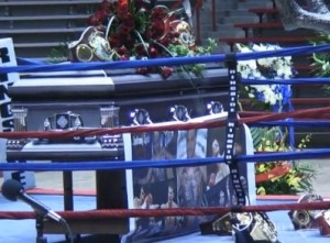 Johnny Tapia's casket at The Pit
