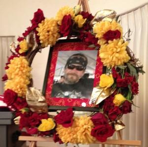 Freddie Drake photo and wreath