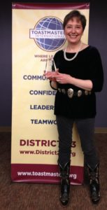 Gail Rubin, The Doyenne of Death®, took first place in the Area 22 contest of District 23, Toastmasters International.