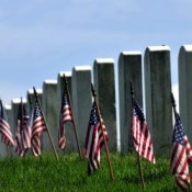 U.S. flags and headstones