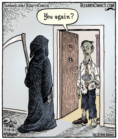 Bizarro Grim Reaper and Zombie