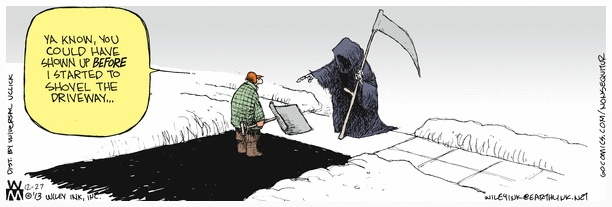 shoveling snow death cartoon a good goodbye funeral planning for