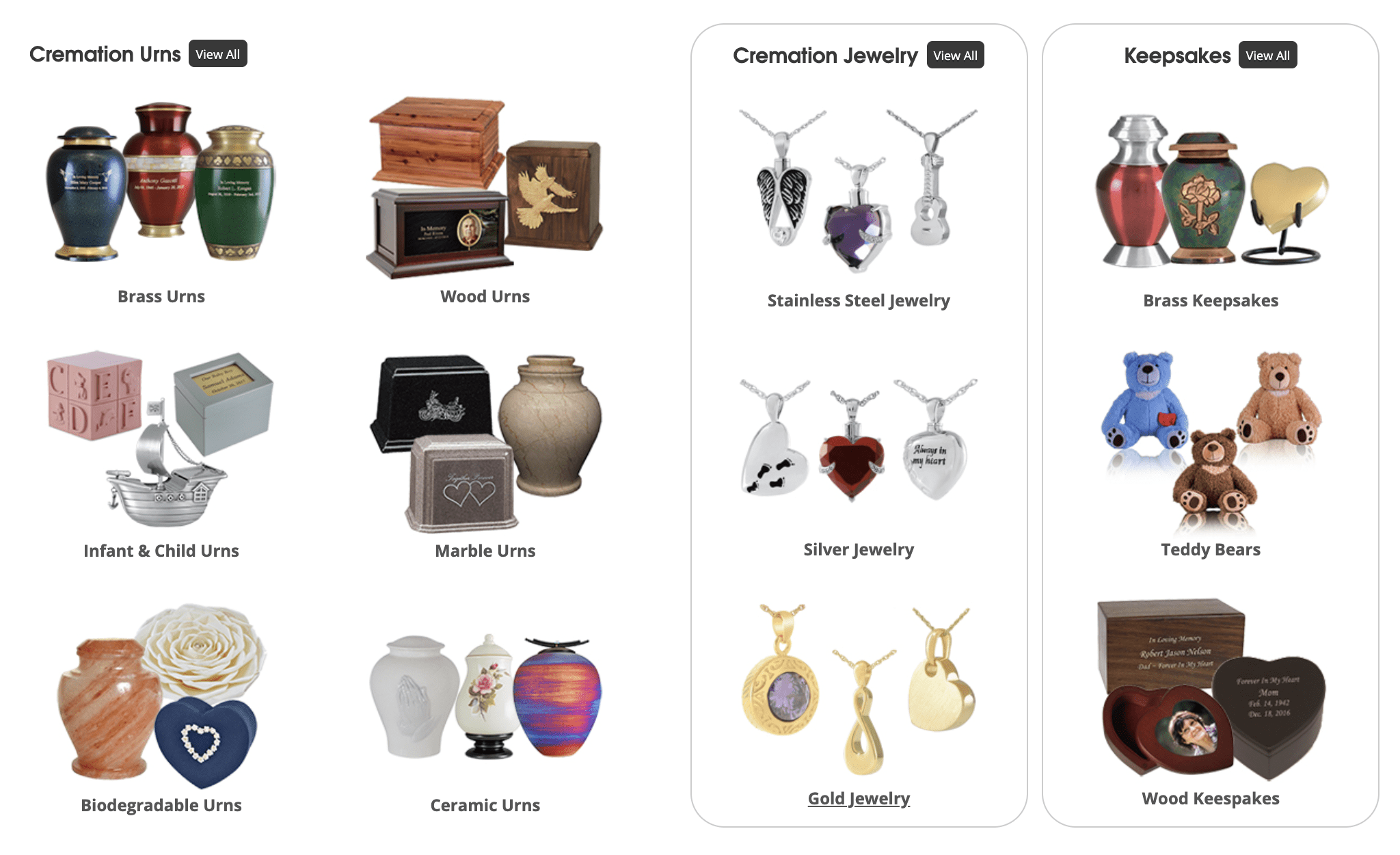 Cremation Urns, Jewelry, Keepsakes