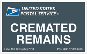 USPS Cremated Remains label