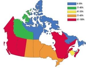 Canada Cremation Percentages 2010