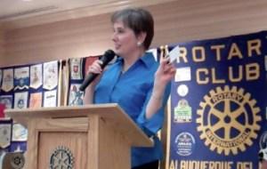 Gail speaking at Rotary
