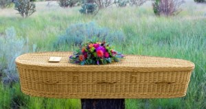 wicker casket in nature