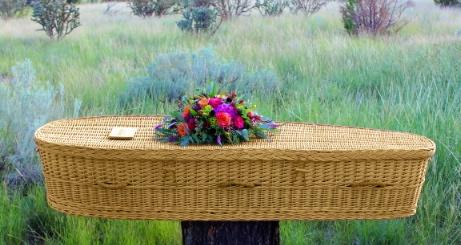 wicker casket in nature