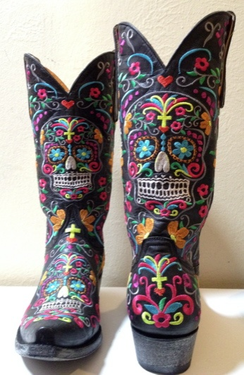 Sugar Skull Boots by Old Gringo